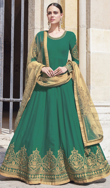 Embroidered Silk Anarkali Suit in Green Color