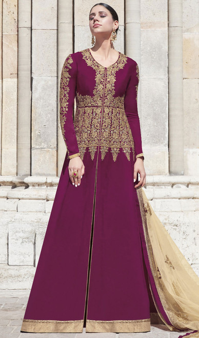 Violate Color Embroidered Silk Anarkali Suit