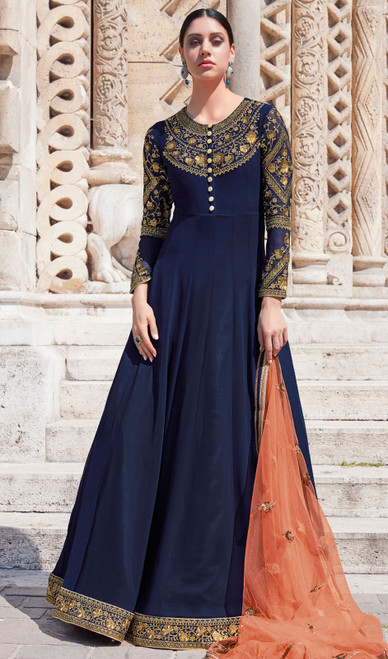 Anarkali Suit, Silk Fabric in Navy Blue Color Shaded