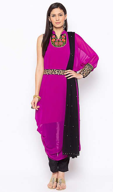 Georgette Pant Style Pink Color Embroidered Suit