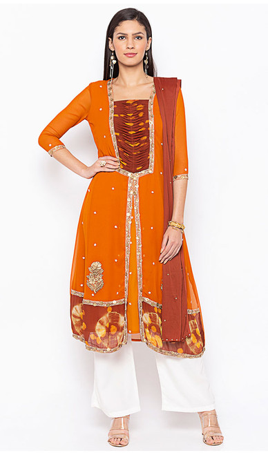 Orange Color Georgette Embroidered Palazzo Suit