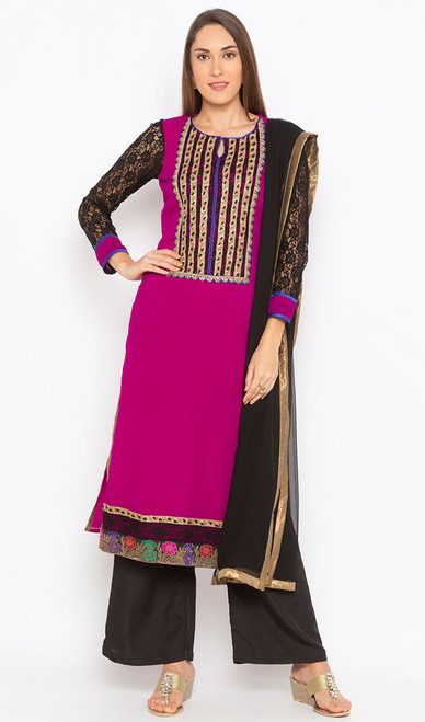 Pink and Black Color Georgette Palazzo Dress