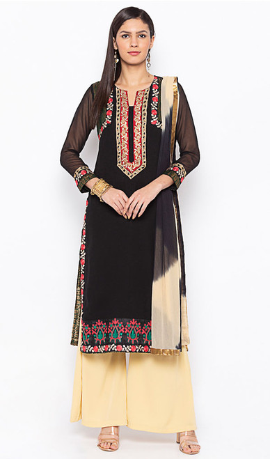 Black Color Embroidered Georgette Palazzo Suit
