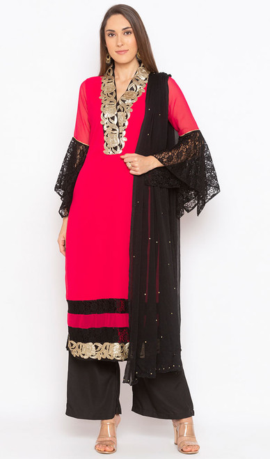Red Color Georgette Embroidered Palazzo Dress