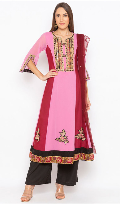 Pink Color Shaded Georgette Palazzo Suit