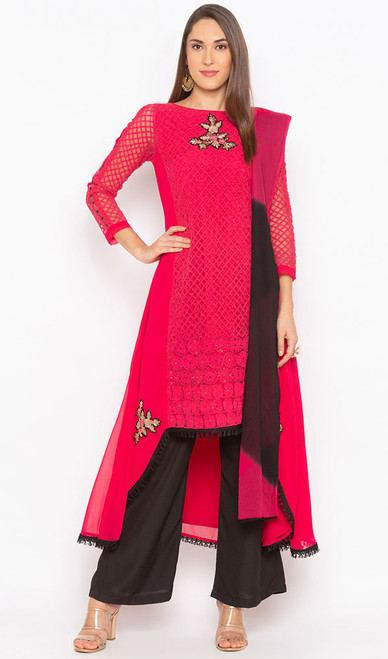 Red Color Embroidered Georgette Designer Suit