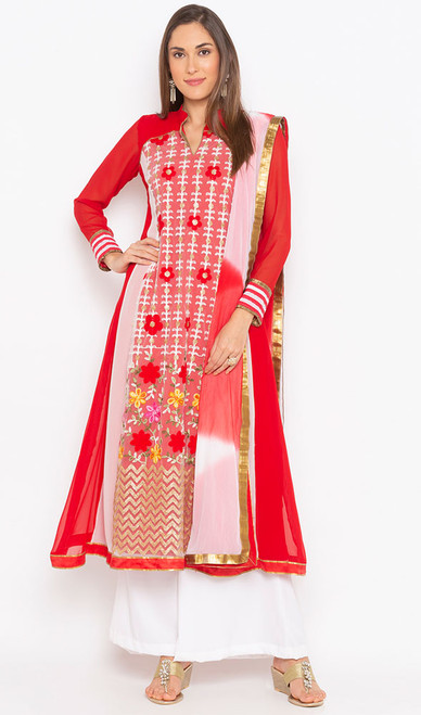 Red and White Color Shaded Georgette Suit