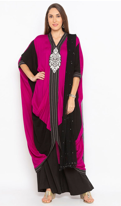 Black and Pink Color Shaded Cotton Dress