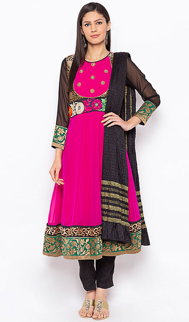 Pink and Red Color Shaded Georgette Suit