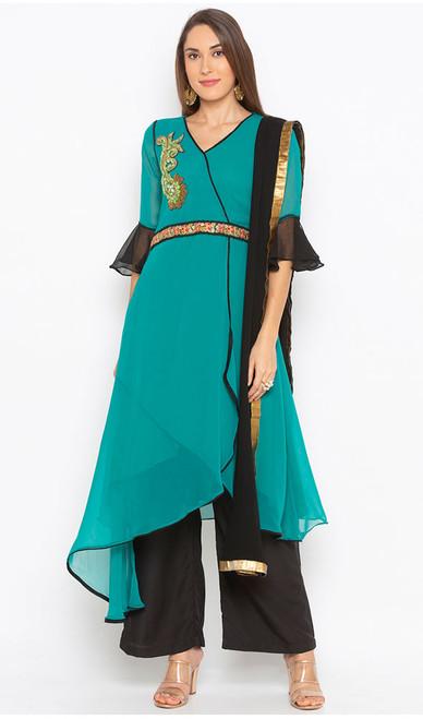 Sea Green Color Shaded Georgette Designer Suit