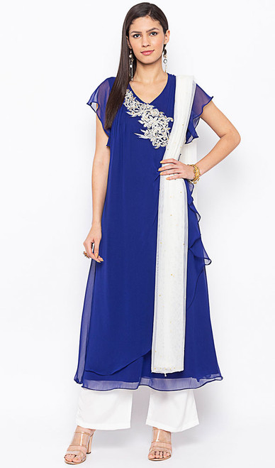 Designer Suit in Blue Color Embroidered Georgette