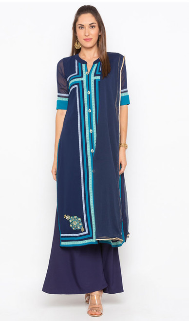 Navy Blue Color Shaded Georgette Suit
