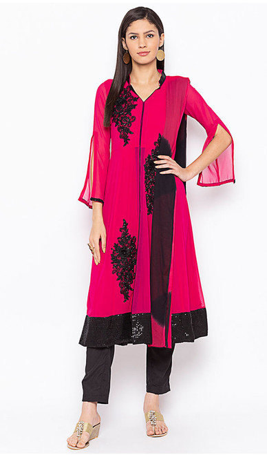 Magenta Color Shaded Embroidered Georgette Suit