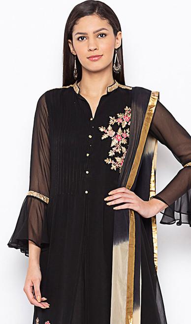 Designer Suit, Georgette Fabric in Black Color