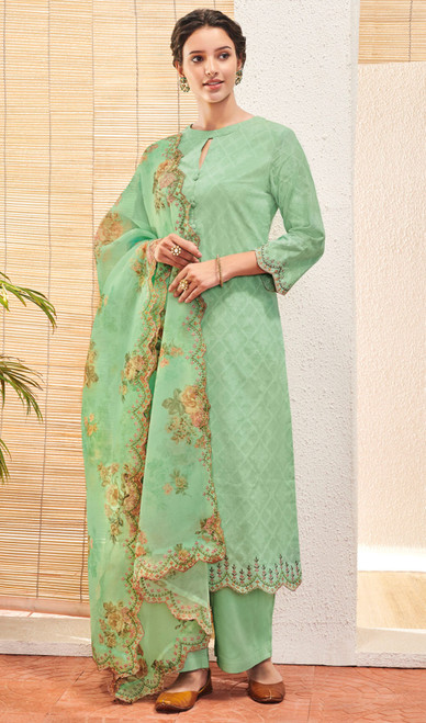 Sea Green Color Jacquard Cotton Pant Style Suit