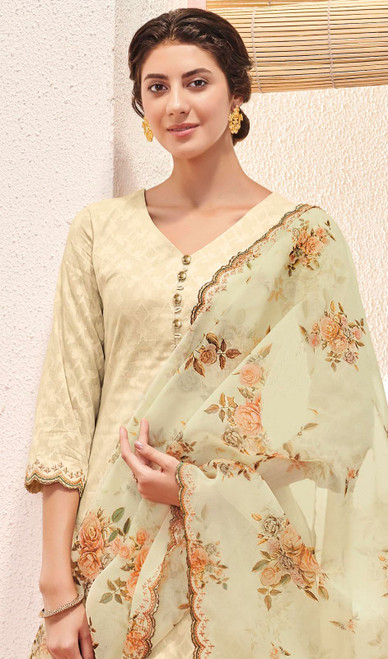 Cream Color Jacquard Cotton Embroidered Pant Style Suit
