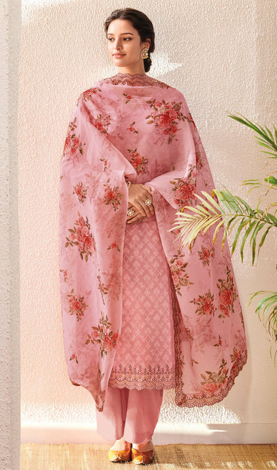 Pink Color Embroidered Jacquard Cotton Pant Style Suit