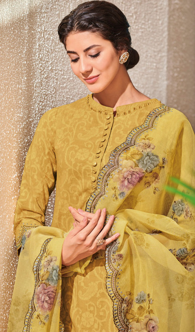 Mustard Color Shaded Jacquard Cotton Pant Style Suit