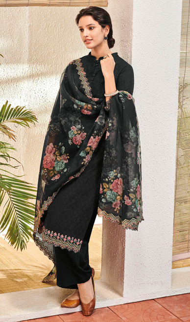 Black Color Embroidered Jacquard Cotton Pant Style Suit