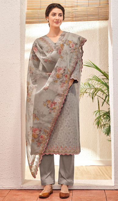 Gray Color Jacquard Cotton Embroidered Pant Style Suit