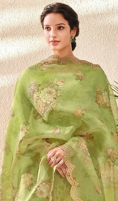 Green Color Embroidered Jacquard Cotton Pant Style Suit