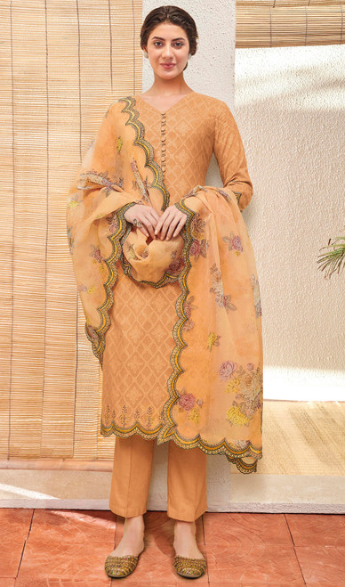 Orange Color Shaded Jacquard Cotton Pant Style Suit
