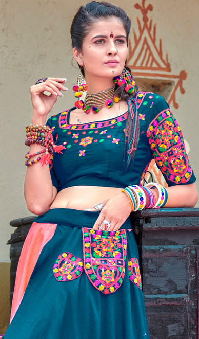 Peach and Blue Color Cotton Lehenga Choli