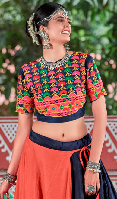 Navy Blue and Salmon Color Cotton Lahenga Choli