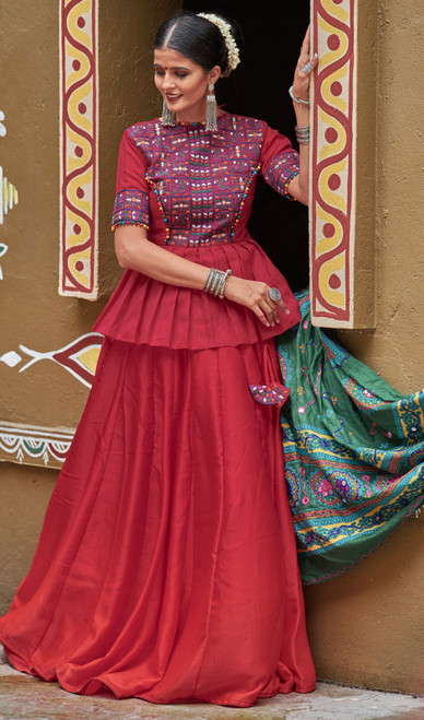 Maroon Color Embroidered Cotton Lahenga Cholie