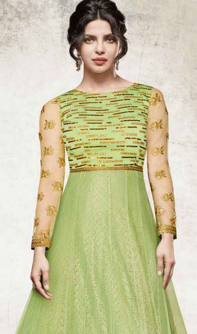 Priyanka Chopra Green Color Embroidered Georgette Suit