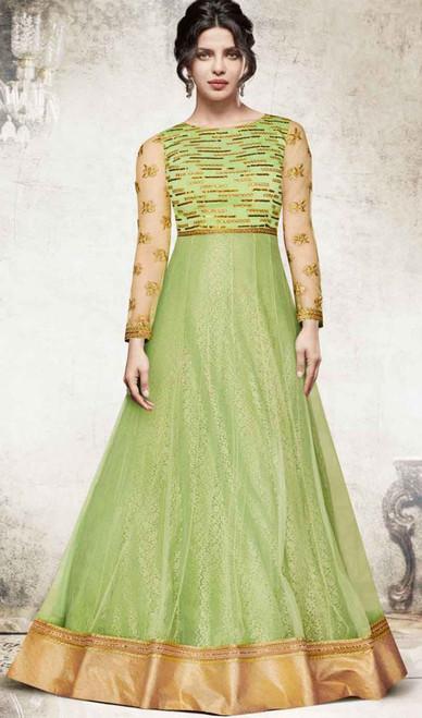 Priyanka Chopra Green Color Embroidered Georgette Suit