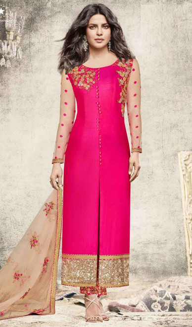 Priyanka Chopra Pink Color Georgette Embroidered Dress