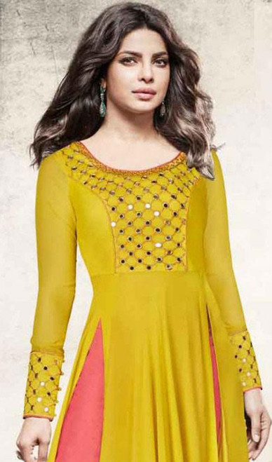 Priyanka Chopra Mehendi Color Shaded Georgette Suit