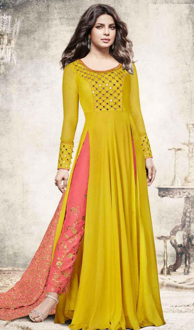 Priyanka Chopra Mehendi Color Shaded Georgette Suit