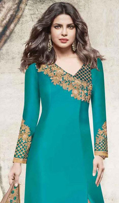 Priyanka Chopra Firozi Color Shaded Embroidered Georgette Dress