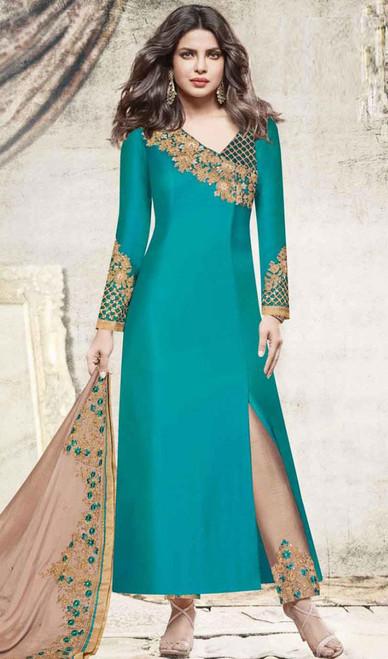 Priyanka Chopra Firozi Color Shaded Embroidered Georgette Dress