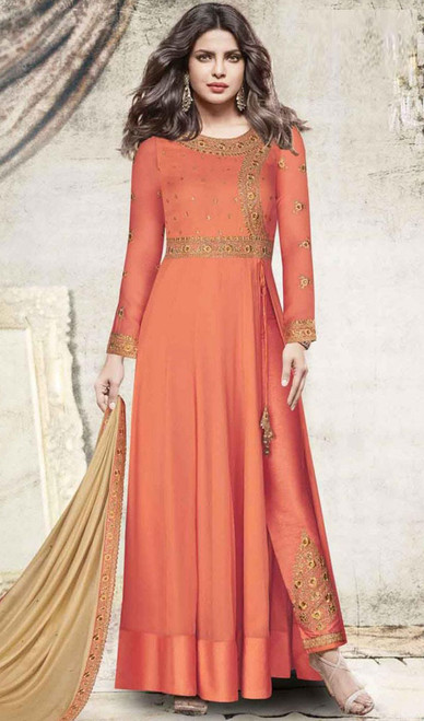 Priyanka Chopra Designer Suit in Orange Color Embroidered Georgette