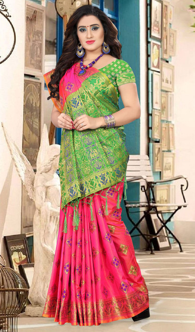 Green and Pink Color Silk Embroidered Sari