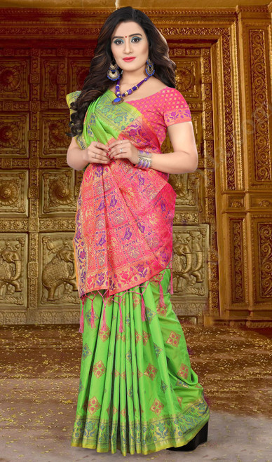 Pink and Green Color Resham  Embroidered Silk Sari
