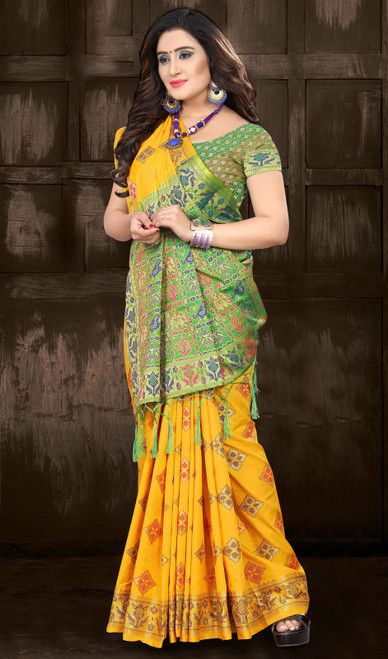 Yellow and Green Color Embroidered Silk Sari