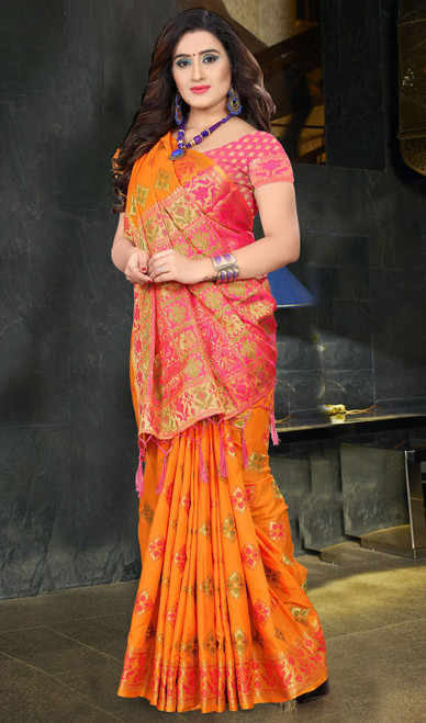 Orange and Red Color Shaded Silk Sari