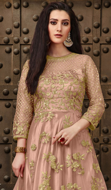 Pink Color Resham Embroidered Net Anarkali Suit