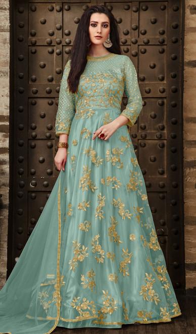 Sea Green Color Net Embroidered Anarkali Dress