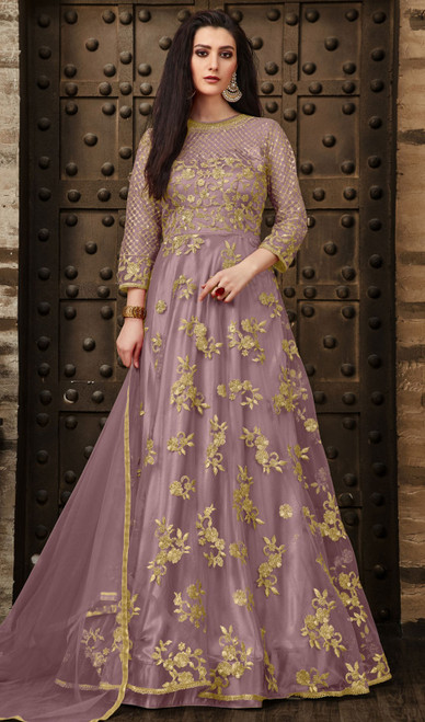 Anarkali Suit in Resham Pink Color Embroidered Net