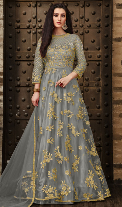 Gray Color Resham Embroidered Net Anarkali Suit