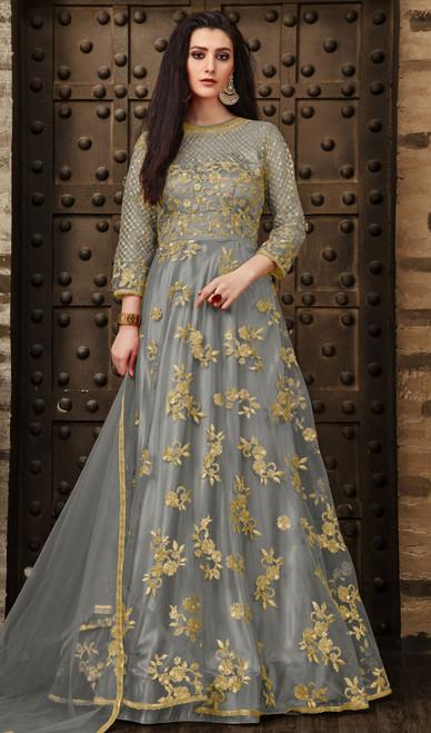 Gray Color Resham Embroidered Net Anarkali Suit