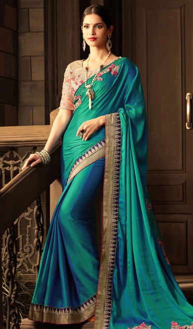 Embroidered Silk Teal Blue Color  Sari