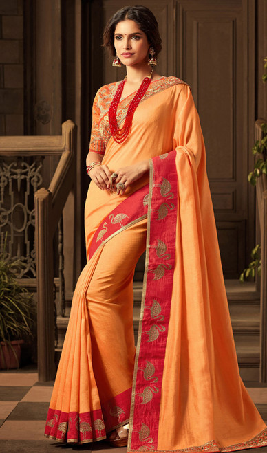 Silk Embroidered Orange Color Shaded Sari