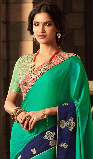 Shaded Silk Green and Blue Sari