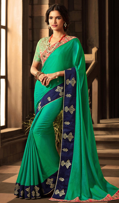 Shaded Silk Green and Blue Sari